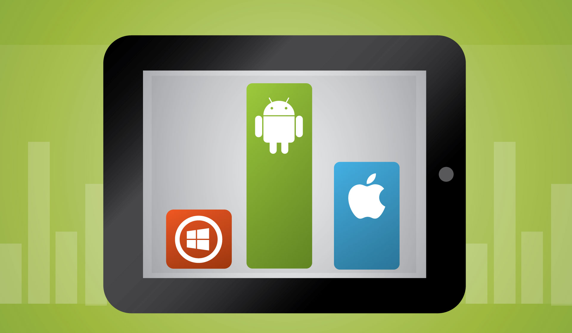 Illusatration ANDROID, IOS, MICROSOFT lequel domine ?